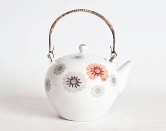 Vintage Japanese Flower Print Teapot, 2 cup Personal Tea Pot Asian Decor, Mid Century Teapot Japan, Rattan Handle