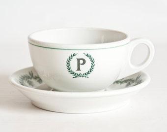 Vintage Large Shenango Wreath Restaurant Ware Teacup and Saucer, Laurel Garland Band Green Hotel Ware Restaurant Logo Tea Cup Coffee Cup