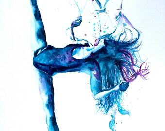 Original Watercolor Painting. Wall art, ballet dancer girl. Ballet dancer. Gifts For Her. Ballerina