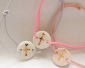 christian cross and tiny heart porcelain bracelet on adjustable cord prcious gift