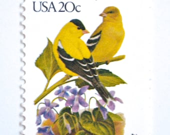 10 Unused New Jersey Goldfinch Postage Stamps // American Goldfinch and Violet // New Jersey State Bird and State Flower