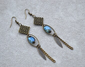 "Earrings ""Equinox"" composed of beads faceted blue glass and brass primer"