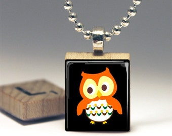 Cute Orange Owl Green Scrabble Tile Pendant Necklace or Key Chain America Made in USA jewelry Owl Necklace Woodland Critters