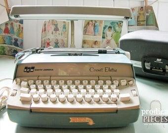 Vintage Smith Corona Typewriter Cornoa Electric ~ Blue with Case ~ Mid Century Modern Industrial Machine
