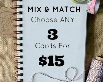 Set of 3 Watercolor Cards/ Mix & Match Cards/ Assorted Cards 5x7