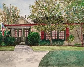 Original custom watercolor house portrait, 8x10