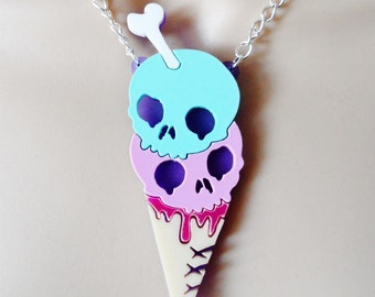 Pastel gothic ice cream necklace
