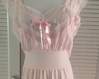 Vintage 1950's Pink Gown, Nightgown