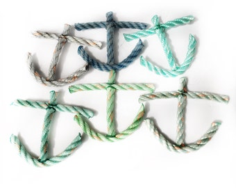 Anchor Ornament - Recycled Lobster Rope - ocean colors available, single or box set