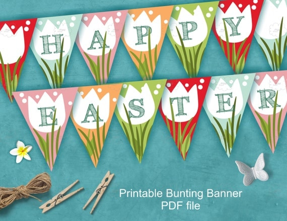 Happy Easter banner, printable Easter decoration, colorful spring tulip flowers and grass, download PDF files