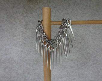 Silver Charm Bracelet, Silver Chain Charm Bracelet, Rocker Bracelet, Gothic Charm Bracelet, Punk Charm Bracelet, Silver Rocker Bracelet