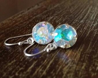 Rhinestone Earrings, Crystal Dangle Earrings, Sugar Crystal, Sugar Crystal Earrings