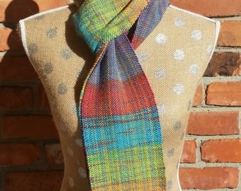 Scarf, Handwoven Scarf, Multiple Colors, Purple, Red, Blue, Light Yellow, Peach, Green