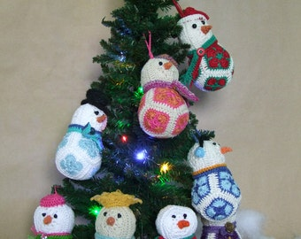 Snowmen Christmas Ornaments Crochet