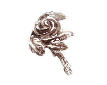 Beautiful Sterling Silver Rose Ring, Detailed Floral Ornaments, Pure Solid Silver, Material - 925 Sterling Silver