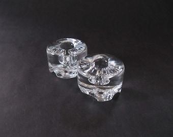 Pair Tapio Wirkkala Gaissa Glass Candle Holders / Textured Underside - Iittala, Finland 190s