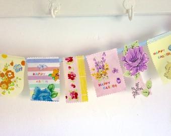 Easter banner, Easter bunting, vintage patchwork, fabric Easter banner, floral bunting, 130cm, vintage flowers, Easter decoration