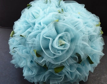 Very Unusual Vintage Early 1960s Gathered Baby Blue Stiff Net Hat with Addition of Faux Flowers & Leaves