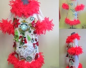 Wild 3-D Grinch Sexy Tacky Ugly Christmas Sweater Dress, Light Up  Feather Foo Foo Boa Garland Size womens sz XS
