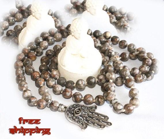 Japa Mala Hand Knotted 108 Leopardskin Jasper Gemstone 8mm Beads Prayer Yoga Necklace for Meditation and Mantra - Free Shipping
