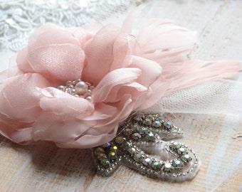 Blush hair flower Wedding blush headpiece Bridal hair flower Blush hair flower Wedding hair flower Pink hair flower Pink blush hair flower