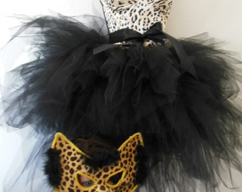 Leopard Cat Mask Costume Leopard Corset 38C Black Tulle Skirt