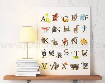 Animal Alphabet Poster - Nursery Wall Art - Playroom Poster, Alphabet Wall Art, Alphabet Nursery Art, Alphabet Nursery, Nursery Art, 22-0018