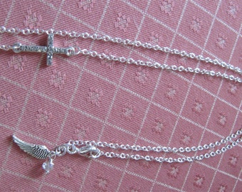 Side Way Silver Cross Necklace Handmade
