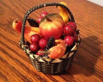 Original miniature harvest basket of pumpkins, apples,grapes and gourds. For dollhouse, diorama, display or decoration. Willow basket.