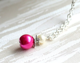 Hot pink Bridesmaid necklace, Fuchsia bridesmaid jewelry, Beaded jewelry, Bridesmaid Jewelry, Flower girl jewelry, Fuchsia weddings