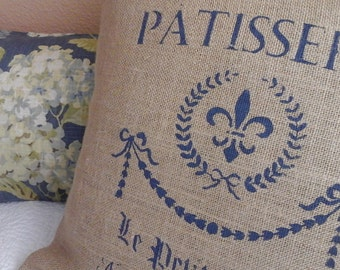 Burlap Pillow Cover, french Patisserie Pillow, French Blue Cover,Envelope Cover