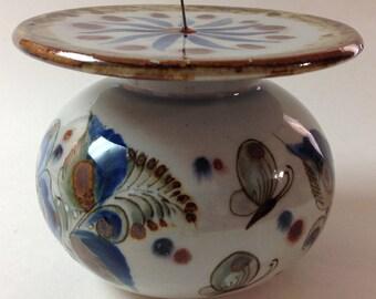 Ken Edwards El Palomar Pillar Candle Holder, Votive, Blue, Red, And Brown, Vintage Mexican Pottery Candle Holder