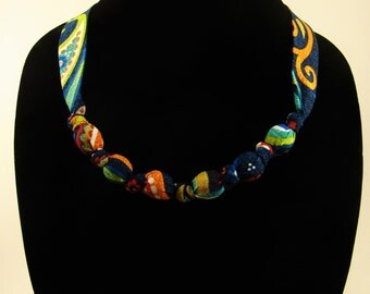 Blue Paisley Necklace
