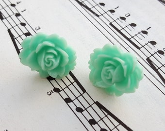 Aqua flower earrings - pale mint rose on silver studs, vintage inspired