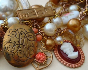 "Vintage charm bracelet, assemblage statement ""Completely Vintage"" cameo, pearls, charms, beads"