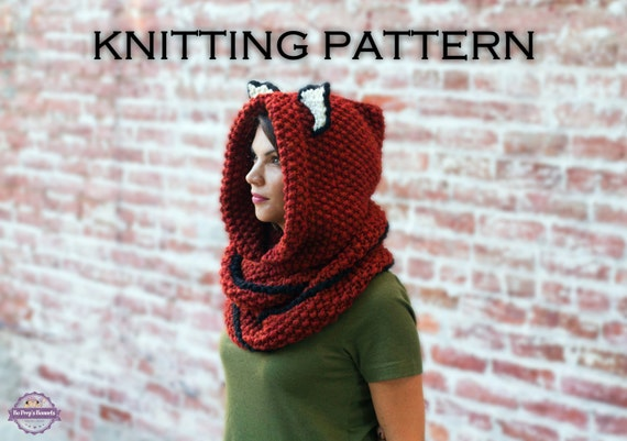 KNITTING PATTERN Fox Cowl, Hooded Scarf Knitting Pattern, Knit Hooded Animal ...