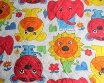 Childrens Novelty Print Fabric, Quilted Cotton Print, Vintage Fabric By The Yard, Large Print Jungle Animal Fabric , Kids Safari Print