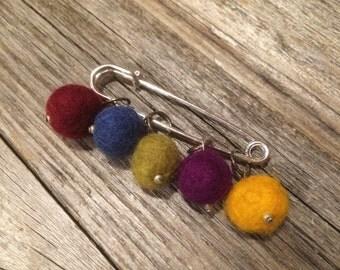 Felt Wool Ball Stitch Markers (Set of 5)