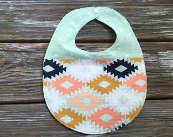 Bib ~ Two Toned/Quilted ~ Woodland//Geo//Tribal//Arizona//Desert//Southwestern//Native//Aztec