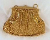 Vintage Gold Mesh Tile Purse Whiting Davis 1960s #2893