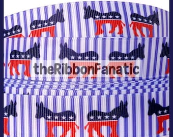 "5 yds 7/8""  Democrat Donkey Election Red White Blue Stripes Patriotic Grosgrain Ribbon"