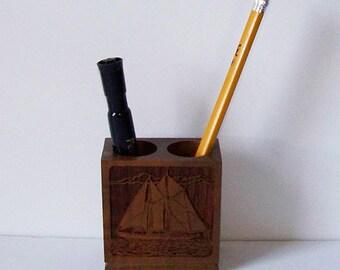Lasercraft Wood Ship Pencil Holder