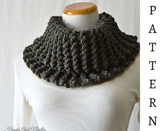 Chunky Knit Neck Warmer Pattern PDF Knitting Pattern Craft Supplies Neck Gaiter Pattern Bulky Knit Cowl Scarf Pattern Beginner Knit Pattern