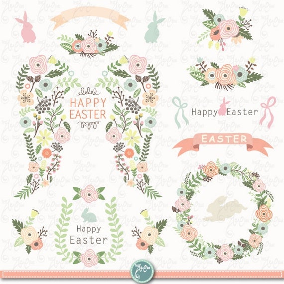 Easter Clip Art EASTER FLORAL WING Set Easter Bunny Angel Wing