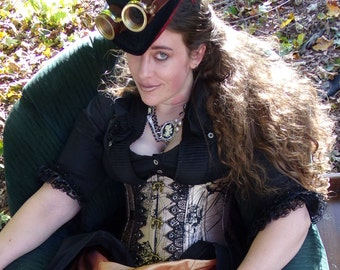 "CUSTOM MADE: Steampunk ""Penny-Farthing"" Steel Boned Underbust Vest Corset Made to Order in Your Size"