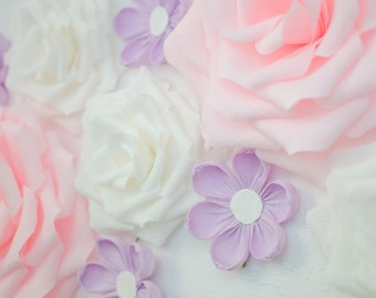 10 Paper Flowers/ Wall Flowers/ Arch Flowers/ Wedding Decoration/ Large Flowers/ Party Decoration/ Baby Shower Decorations/ Nursery Wall