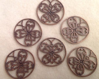 Round Butterfly Pendants (6) in Red Copper Color