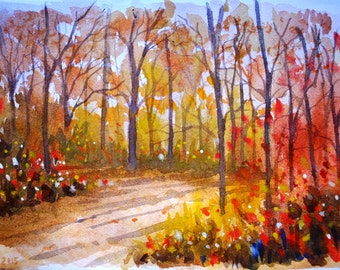 Autumn scene original watercolor landsacape painting originla wall art red art autumn art forest painting forest art orange red