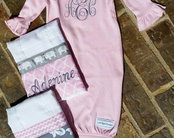 Monogrammed Baby Girls Ruffled Gown and Burp Cloths Set (can be made in other fabrics)