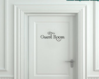 "Guest Room Vinyl Decal Sticker 9"" x 3.5"" - Bedroom Door Sign *Free Shipping*"